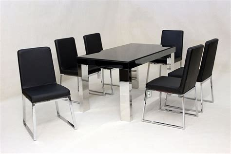 modern black glass dining table   chairs homegenies