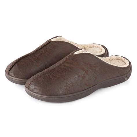 mens sherpa slippers isotoner mens pebble mule slippers with sherpa ebay
