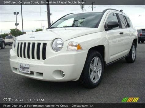 jeep compass sport white white 2007 jeep compass sport pastel pebble