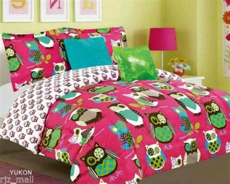 owl bed in a bag tween teen bedding pink with owl bed in a bag comforter sheet set twin full ebay