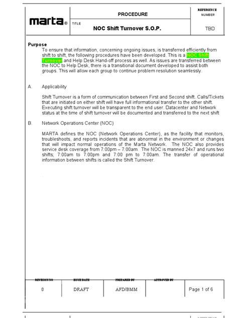 noc report template noc shift turnover sop derricks format enid edition help