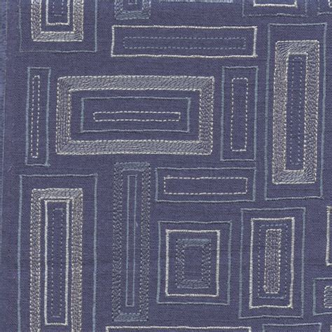 embroidered linen drapery fabric society park indigo blue embroidered linen drapery fabric