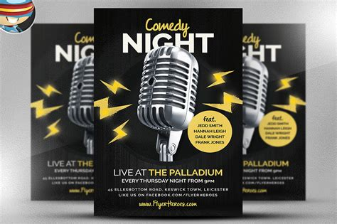 Open Mic Comedy Night Flyer Flyer Templates On Creative Market Open Mic Poster Template