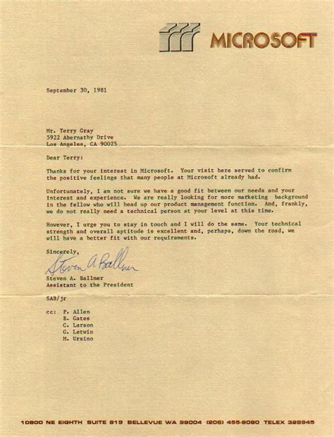 Gracious Decline Letter Image Of 1981 Microsoft Rejection Letter