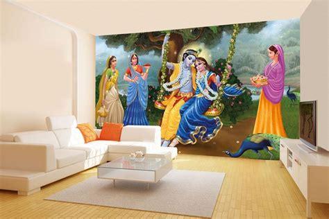 radha  lord krishna swing wallcovering walls  murals