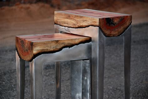 designer hilla shamia uses cast aluminum and tree trunks to create unique furniture pieces