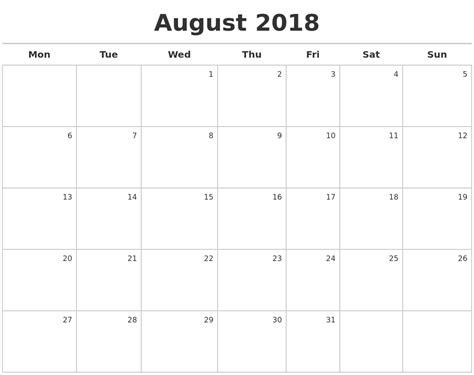 august 2018 calendar maker