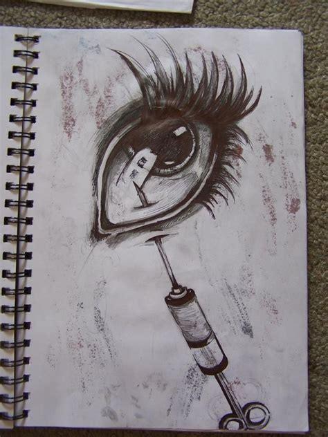 tattoo needle drawing needle in eye drawing ballpoint pen horror horror