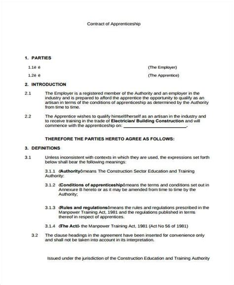 7 apprenticeship agreement form sles free sle