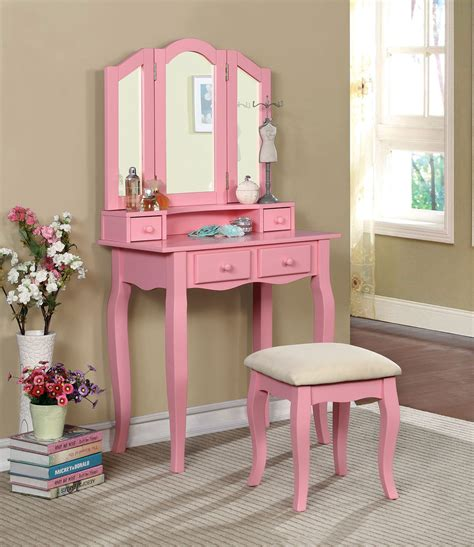 Pink Vanity by Pink Makeup Vanity Table With Mirror And Bench