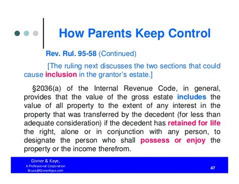 internal revenue code section 2036 how parents keep control both during their lifetimes and