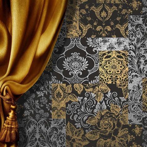 black gold wallpaper uk vymura brocade wallpaper silver gold black m0892