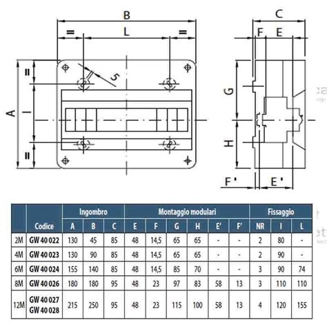 cassette per quadri elettrici gewiss gw40026 centralino 8 moduli per quadro elettrico