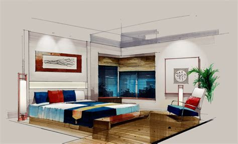 sketch bedroom wooden floors rendering 3d