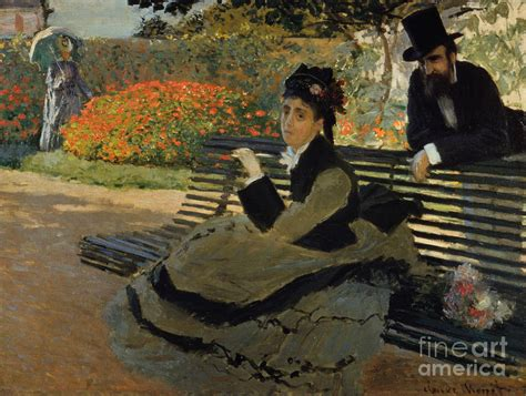 camille monet on a garden bench camille monet on a garden bench painting by celestial images