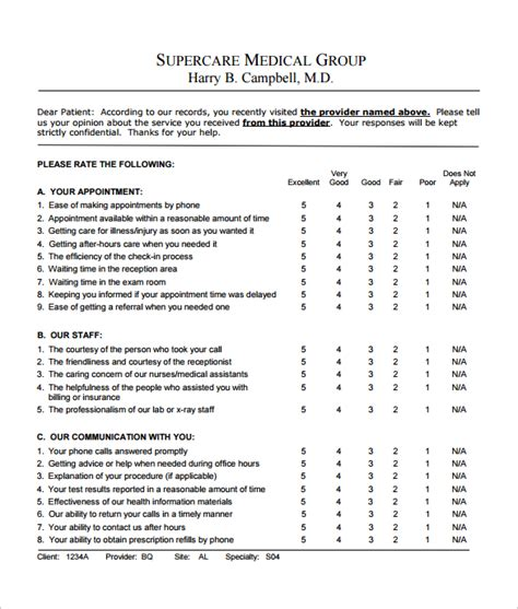 Feedback Survey Template 9 Download Free Documents In Word Pdf Patient Experience Survey Template