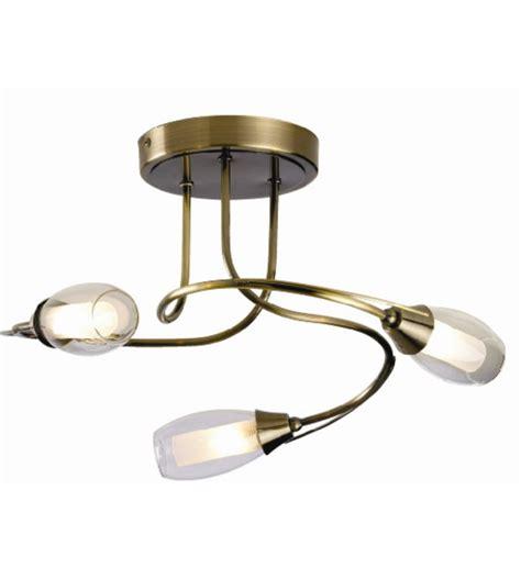 iris 3 light ceiling fitting antique brass