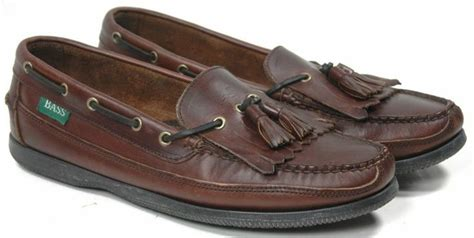 s bass flint kilt tassel brown leather boat shoes