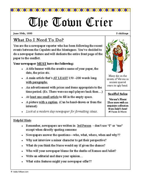 Romeo And Juliet News Report Essay romeo juliet newspaper project students create a newspaper to report on the events of