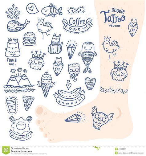 hand drawn vector tutorial cute cartoon hand drawn doodle tattoo set stock vector