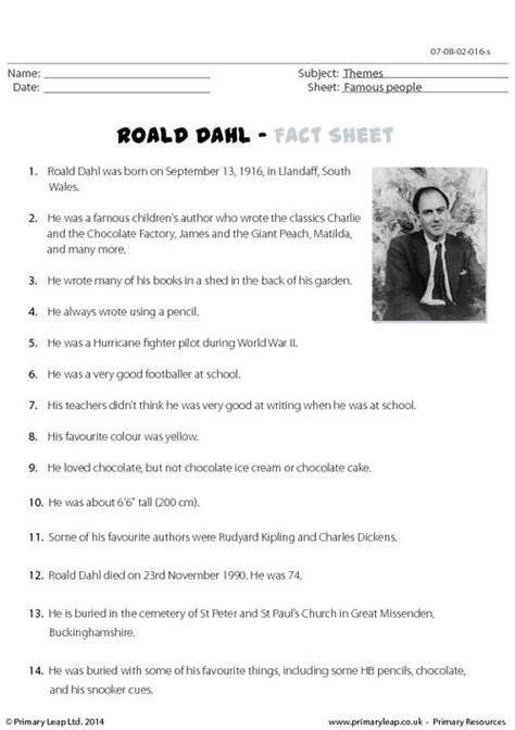 roald dahl fact sheet primaryleap co uk