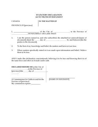 Statutory Declarations Template by Canada Statutory Declaration For Non Speaking