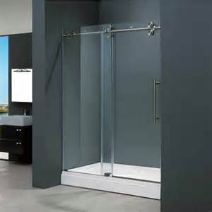 48 Inch Glass Shower Door Vigo 48 Inch Frameless Shower Door 3 8 Clear Glass Stainless Steel Hardware Kitchensource