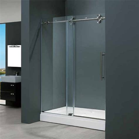48 Inch Shower Door Vigo 48 Inch Frameless Shower Door 3 8 Clear Glass Stainless Steel Hardware Kitchensource
