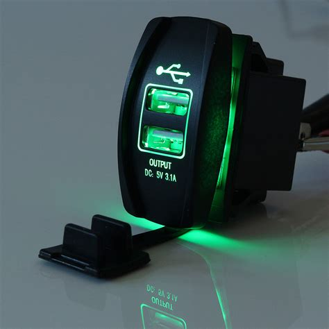 Roker Charger 4 Usb Output 4 4a 12v 24v green led backlit car boat dual usb charger 5v 3