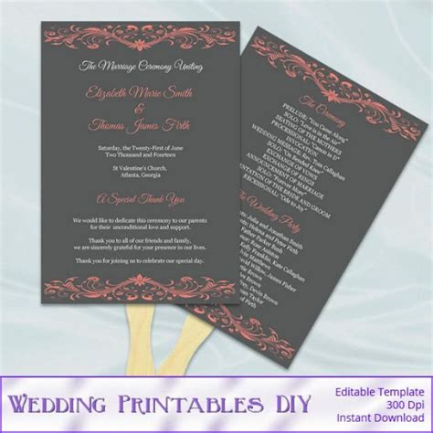 Coral And Gray Wedding Program Fan Template Diy Ceremony Paddle Fans Printable Programs Do It Yourself Wedding Programs Templates Free