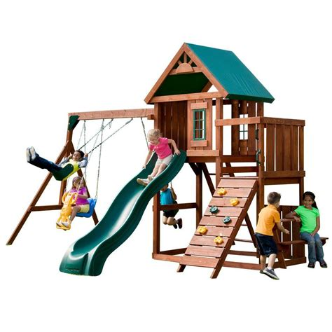 home swing set swing n slide playsets knightsbridge wood complete playset