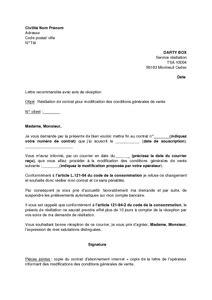 Lettre De Rã Siliation Opã Rateur Modele Lettre Resiliation Operateur Document