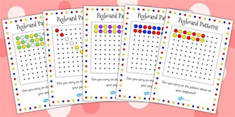 pattern theory the mathematics of perception pegboard complete the pattern cards activity games
