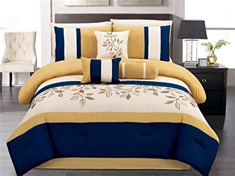 navy blue and yellow bedding 7 pieces luxury navy blue yellow off white embroidered