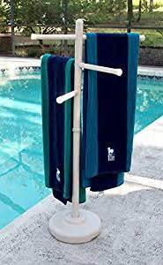 outdoor spa and pool towel rack white