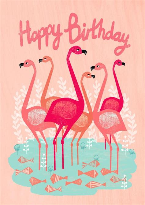 Happy Birthday Pink Flamingo Beautiful 163 2 99 Andrea Flamingoes Illustration