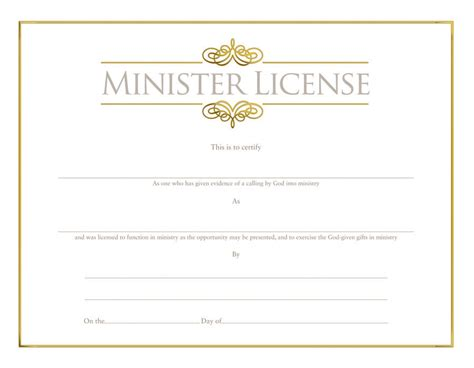 28 license certificate template minister s license