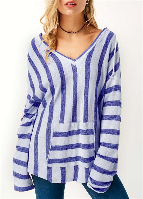 Striped Hooded Sleeve T Shirt blue sleeve striped hooded collar t shirt rosewe