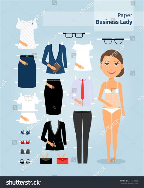 doll business business paper doll stock vector 241568365