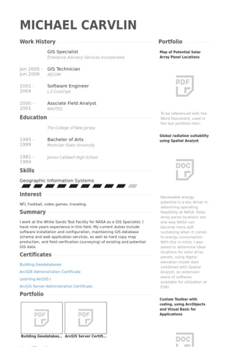 Gis Resume Examples   Resume Format 2017