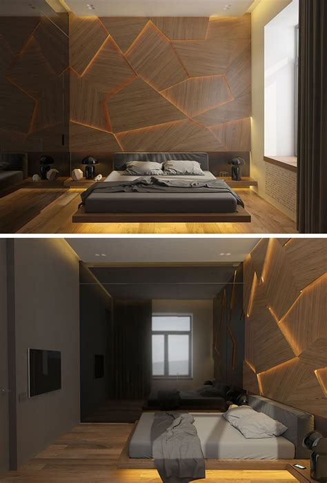 led wooden wall design this bedroom has a geometric back lit wood accent wall