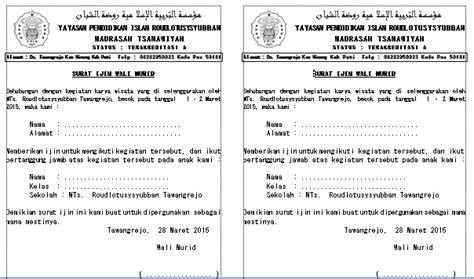surat pemberitahuan pada yayasan dan surat izin orang tua guru seni