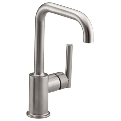 shop kohler purist vibrant stainless 1 handle high arc kitchen faucet at lowes
