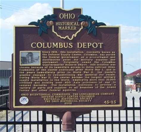columbus depot 45 25 ohio historical markers on
