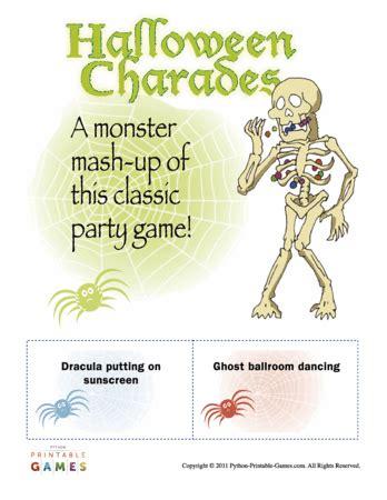 halloween charades free printable halloween game the halloween charades game printable games