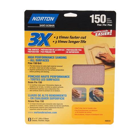 norton sand paper norton 150 grit sandpaper 3 pack