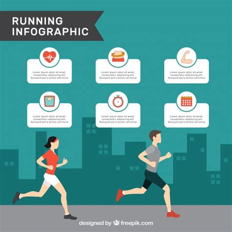 Infographic Template With Man And Woman Running In Flat Design Vector Free Download Fitness Infographic Template