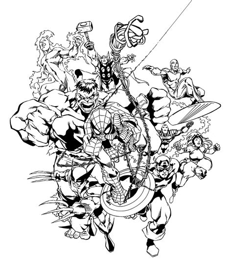marvel coloring pages adults marvel heroes by carlos pacheco b w images pinterest