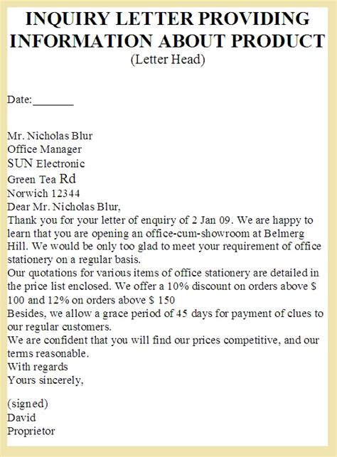 Inquiry Information Letter Sle Business Letter Enquiry About Pricing And Sles Choice