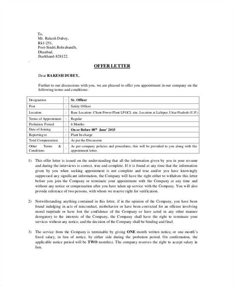appointment letter sle for advisor health safety appointment letter template 28 images